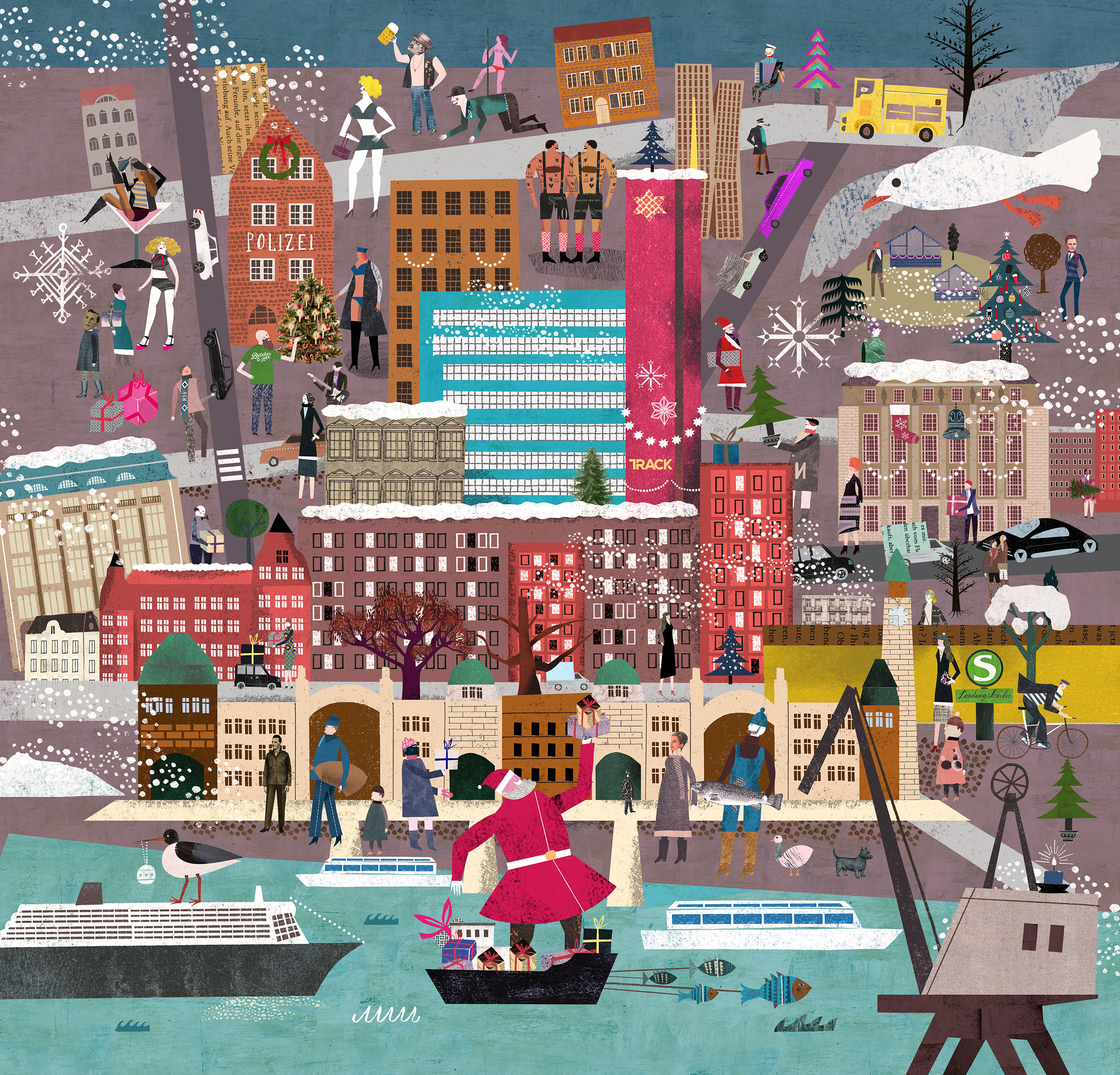 Christmas Calendar Illustration : Christmas calendar illustration for track agency hamburg